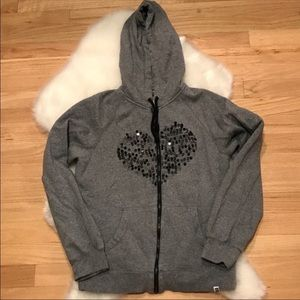 Super cute Roxy Zip-Up: Gray w| Sequin Heart, XS